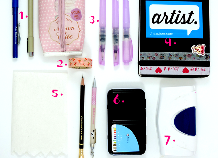 what's in my travel art supplies bag by Miami fashion illustrator Josefina Fernandez