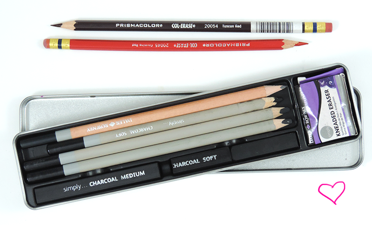 col erase pencils and daler rowney charcoal tin