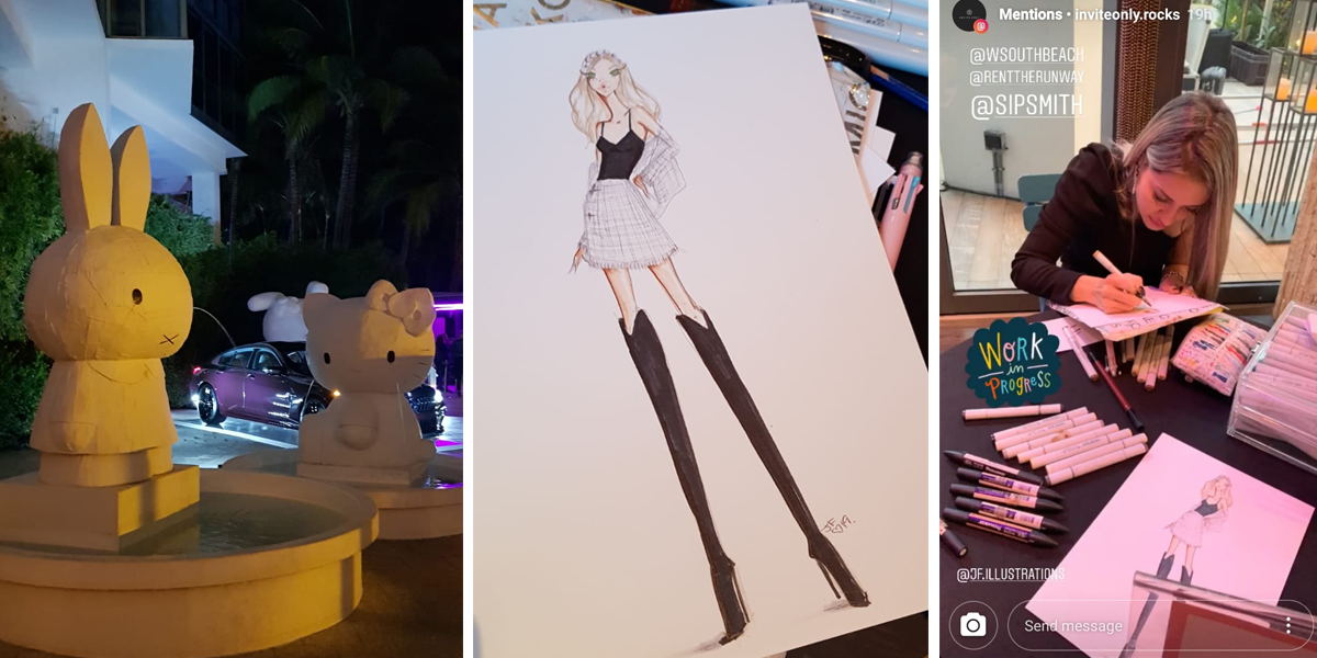 Live sketching at the W South Beach- Miami Art Basel 2019