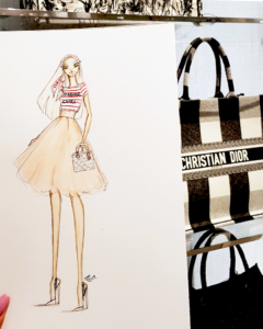 Live Sketching for Dior at Dadeland Mall, Miami
