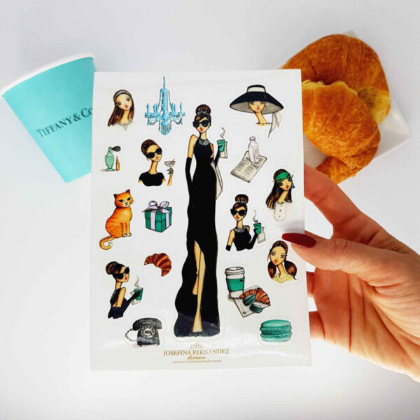 Breakfast at tiffanys stickers by Josefina Fernandez Illustrations