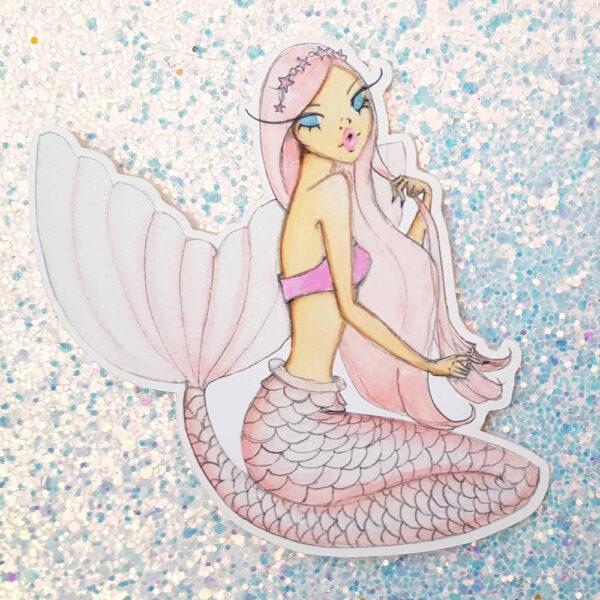 Rose Pearl Mermaid Stickers by Josefina Fernandez