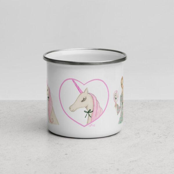 Lady and Unicorn Enamel Mug